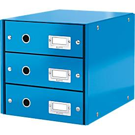 LEITZ® Schubladenbox Click + Store, 3 hohe Schubladen, Karton, Etikettenhalter