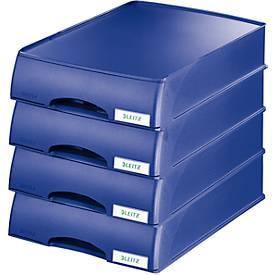 LEITZ® Ablagekorb Plus, DIN A4, Kunststoff, 4 Stück, blau