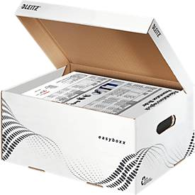 LEITZ® archiefcontainers easyboxx, gemaakt van gerecycled karton, Maat S, 10 stuks