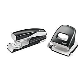 LEITZ® Bürolocher + Tischheftgerät SET, schwarz
