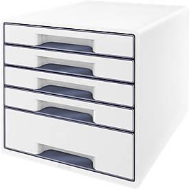 LEITZ® ladebox WOW CUBE 5214, 5 schuifladen, A4, polystyreen, wit