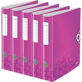 LEITZ® ordner Active WOW 1107, PP, A4, rugbreedte 59 mm, paars, 5 stuks