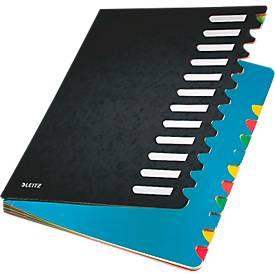 Leitz Pult-Ordner A4, mit 12 Fächern, aus langlebigem Karton, schwarz