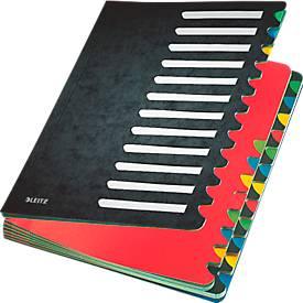 Leitz Pult-Ordner A4, mit 24 Fächern, aus langlebigem Karton, schwarz