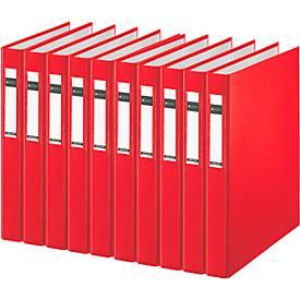 LEITZ® Ringbuch 4210, DIN A4, 2-Ring-Mechanik, Rückenbreite 40 mm, 10 Stück, rot