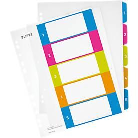 LEITZ® Kunststoffregister Wow, Zahlen, A4 Überbreite, PC-beschriftbar, Eurolochung