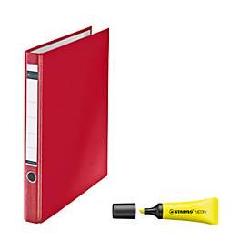 LEITZ® Ringordner, A4, 2-D-Ringmechanik, Rückenbreite 35 mm + GRATIS STABILO Textmarker Neon
