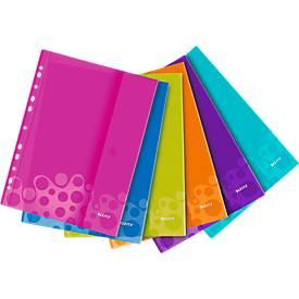 LEITZ® Wow Prospekthülle, DIN A4, mit Seitenklappe, Universal-Lochung, 6 Stück