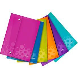 LEITZ® Wow Sammeltasche, DIN A4, mit 2 Druckknöpfen, 6 Stück farbsortiert