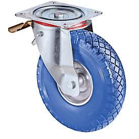 Lenkrolle mit Feststeller, mit pannensicheren Polyurethan-Reifen