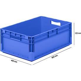 Lichte bak in Euro-maat ELB 6220, van PP, inhoud 43,7 l, zonder deksel, blauw
