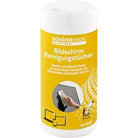 Lingettes nettoyantes CLIP pour écran PC, humides, boîte distributrice pratique, 100 pièces