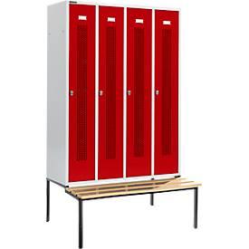 Locker met doorlopende ventilatiegaatjes, 4 afdelingen, 300 mm, met zitbank, lichtgrijs/robijnrood