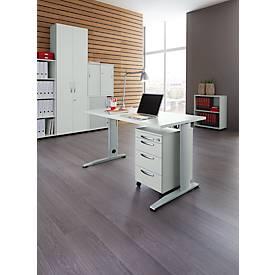 LOGIN C-Fuß Schreibtisch, B 1600 mm + Rollcontainer SET