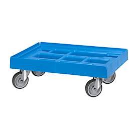 Logistik-Roller für Behälter, 600 x 400 mm, blau RAL 5012