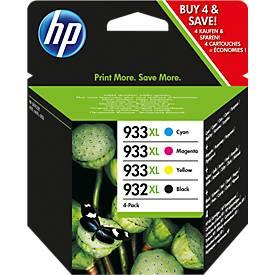 Lot éco 4 pièces HP cartouches, N° 932/933, noir,couleur