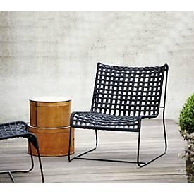 Loungesessel Jan Kurtz In/Out, Stahl/Polyester, Geflecht-Sitzfläche, B 700 x T 800 x H 850 mm, schwarz