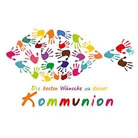 LUMA Doppelkarte Kommunion, Motiv bunte Handabd...