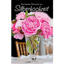 LUMA Doppelkarte Silberhochzeit, Motiv Blumen, ...