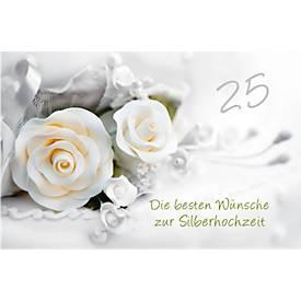LUMA Doppelkarte Silberhochzeit, Motiv weiße Ro...