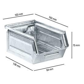 Magazijnbakken 14/7-5, staal, 0,86 liter, verzinkt