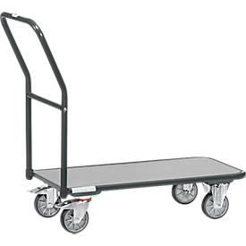 Magazinwagen, mit Holzplattform, L 850 x B 450 mm, bis 250 kg, Stahlrohr, grau