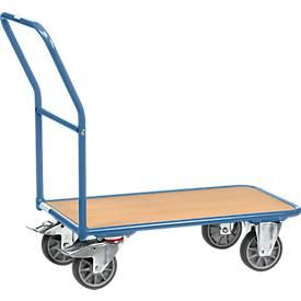Magazinwagen, mit Holzplattform, L 850 x B 500 mm, bis 400 kg, Stahlrohr, blau