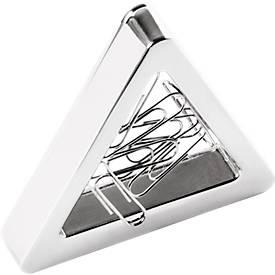 Magnetischer Büroklammerspender Triangle, Zinklegierung, inkl. 10 Büroklammern