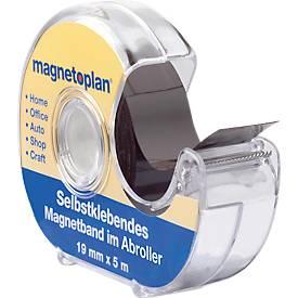 magnetoplan zelfklevende magneetband in afrol dispenser, 19 mm x 5 m