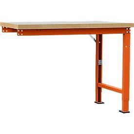 Manuflex Anbauwerkbank Profi Spezial, Tischplatte Kunststoff, 1250 x 700 mm, rotorange