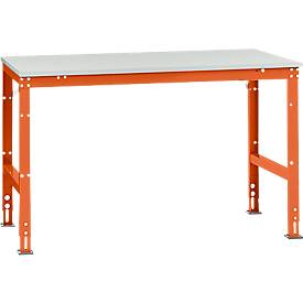 Manuflex inpaktafel UNIVERSAL Standard, 1500 x 1000 mm, lichtgrijs melamine, oranjerood