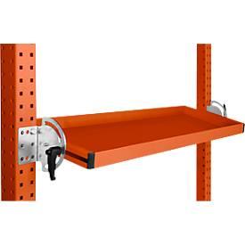 Manuflex kantelbare opbergconsole, voor serie Universal/Profi, bruikb. diepte 195 mm, voor tafelbr. 2500 mm, oranjerood