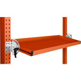 Manuflex kantelbare opbergconsole, voor serie Universal/Profi, bruikb. diepte 345 mm, voor tafelbr. 1250 mm, oranjerood