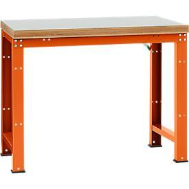 Manuflex Werkbank Profi Standard, Tischplatte Kunststoff B 1250 x T 700, rotorange