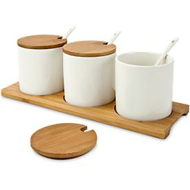 Marmeladen-/Dip-Set Tre Malva, inkl. 3 Porzellan-Schalen, 3 Löffel, Servierbrett