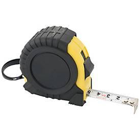 Maßband, 5 Meter, schwarz/gelb, mit Gürtelclip