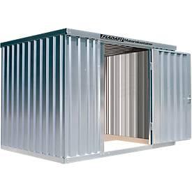 Materialcontainer MC 1300, verzinkt, montiert, mit Holzfußboden