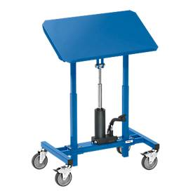 Materialständer, fahrbar, höhenverstellbar per Hand- oder Fußpedal, Plattform neigbar