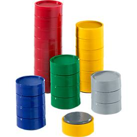 Magneten, 30 mm, 0,6 kp, geel, 10 stuks