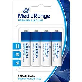 MediaRange Premium Alkaline Batterien, Mignon AA, 4er-Pack