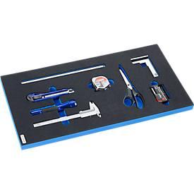 Mess- und Schneidset in Hartschaumeinlage, 8-tlg., für Schrankserie FS4, Maße 299 x 437 mm