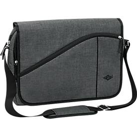 Messenger Bag COLLEGE, Polyester, Laptop-Innentasche, gepolst. Tragegurt, B400xT100xH300 mm, graumeliert