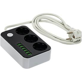 Metmaxx® Ladestation ChargeStation, 6 USB-Ports, 3 Steckdosen