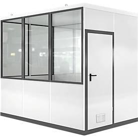 Mobiles Raumsystem WSM, L 3045 x B 2045 mm, für Außenaufstellung, mit Fußboden, grauweiß RAL 9002/ anthr.grau RAL 7016