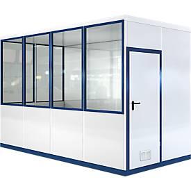Mobiles Raumsystem WSM, L 4045 x B 2045 mm, für Außenaufstellung, mit Fußboden, grauweiß RAL 9002/enzianblau RAL 5010