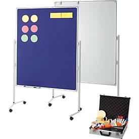 Moderationstafel MAUL Pro, beidseitig, beschriftbar/pinnbar/magnet., Hoch-/Querformat, B 1200 x H 1500 mm