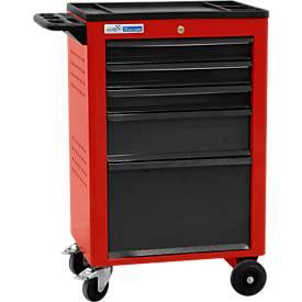 Montagewagen BASIC, 5 schuifladen, rood