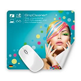 Mousepad und Mikrofasertuch 4 in 1 GripCleaner®, geeignet für Mousepads, Brillen, Displays
