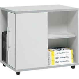Moxxo IQ bijzetkastje, met PC-towervak, 1 deur, 2 zijvakken, B 551 x D 800 x H 720 mm, hout, lichtgrijs