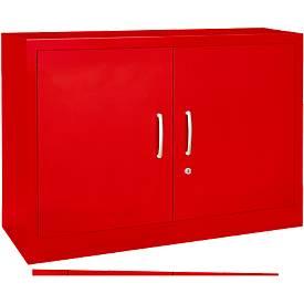 MSiCOLOUR vleugeldeurkast , staal, 2OH, b1200x d400x h865mm, rood RAL3020
